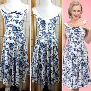 Collectif Maddison Toile Floral Print Swing Dress